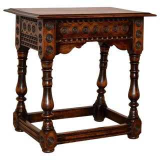 19th Century Walnut Carved Stool For Sale