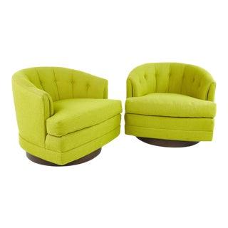 Milo Baughman for Thayer Coggin Style Mid Century Barrel Back Walnut Base Swivel Chair - Pair For Sale