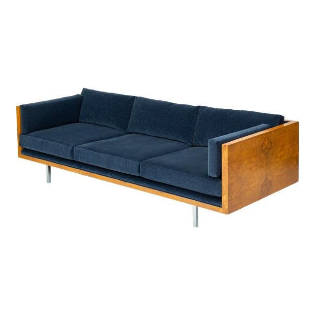 Milo Baughman Burl Wood Case Sofa for Thayer Coggin For Sale