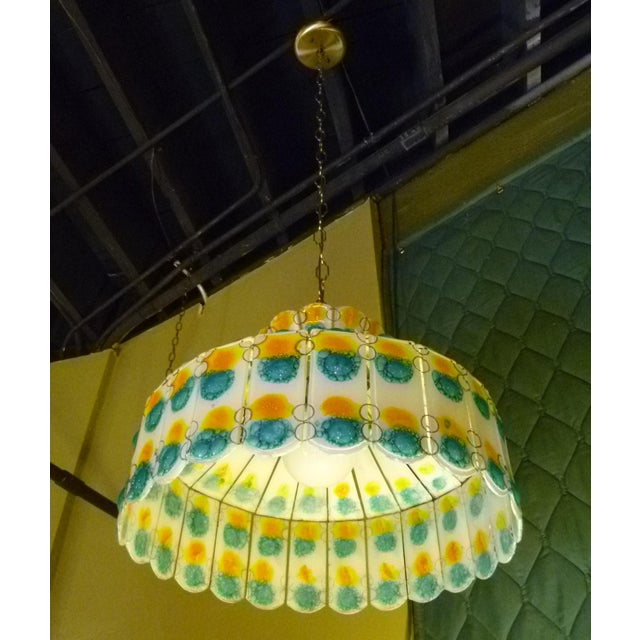 1960s 1960s Mid-Century Modern Fused Art Glass Chandelier For Sale - Image 5 of 8