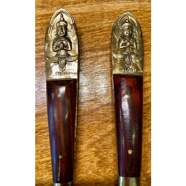 Late 19th Century Mid-Century Vintage Bronze and Rosewood Siam Flatware Set in Original Wood Case For Sale - Image 5 of 13