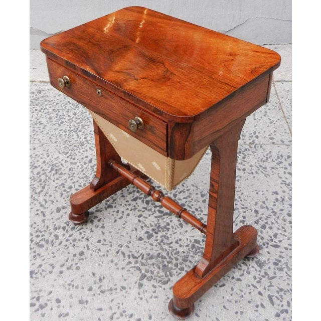English Traditional 19th Century Antique English Rosewood Regency Basket Sewing Table For Sale - Image 3 of 11