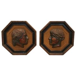 19th Century Italian Framed Terra-Cotta Portrait Busts - a Pair For Sale