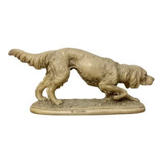 Vintage A. Santini Hunting Dog Sculpture Figurine For Sale