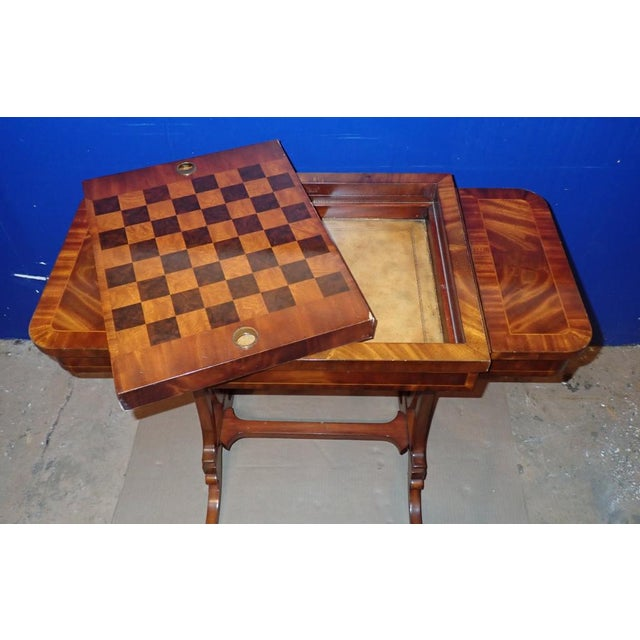 Vintage Maitland Smith Regency style mahogany inlaid top gaming table. Reversible inset to change from a backgammon to...