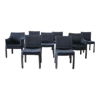 Set of 8 Vintage Leather Mid Century Modern Chairs With Slip Covers For Sale