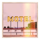 Image of Motel by Christine Flynn in Natural Maple Framed Paper, Small Art Print For Sale