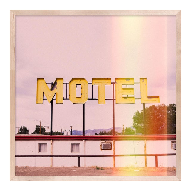 Motel by Christine Flynn in Natural Maple Framed Paper, Small Art Print For Sale