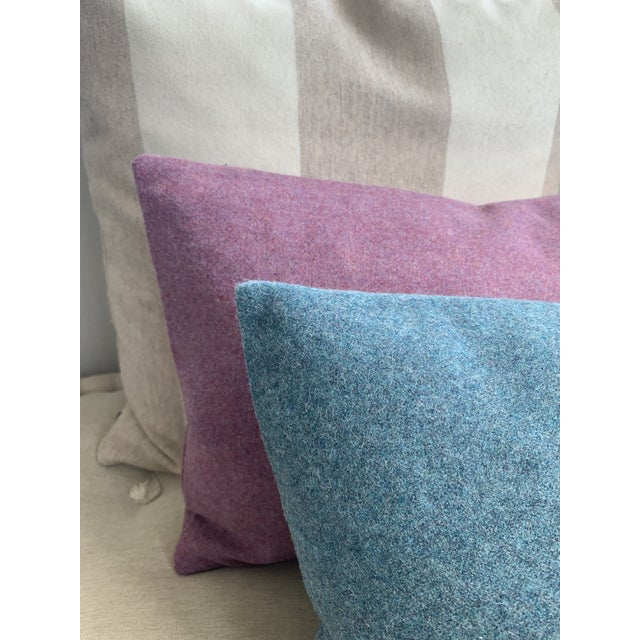 Contemporary FirmaMenta Italian Mauve Pink Sustainable Wool Lumbar Pillow For Sale - Image 3 of 6