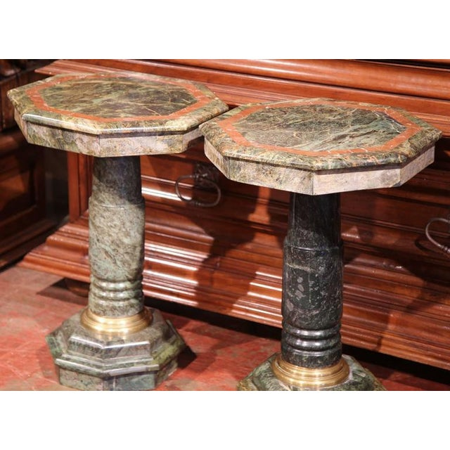 Metal 19th Century Italian Carved Octagonal Green Marble Pedestals - a Pair For Sale - Image 7 of 9