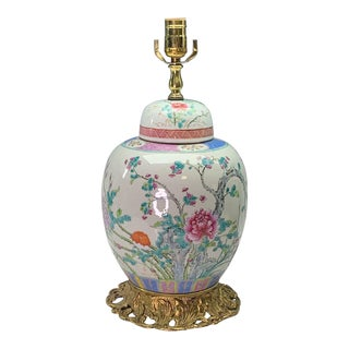 Chinese Republic Period Porcelain Mounted Ginger Jar Lamp With Blossoms and Birds For Sale
