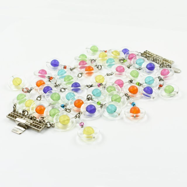 Eric Beamon Multicolor Lucite Link Bracelet With Charms For Sale - Image 9 of 9