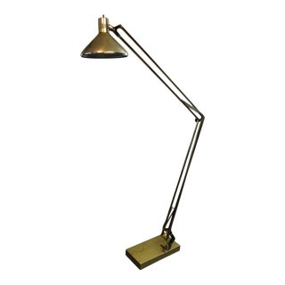 Vintage Mid Century Solid Brass Floor Lamp For Sale