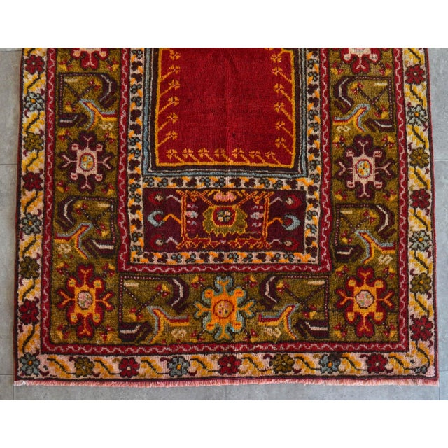 """Ruby Red Antique Turkish Rug Hand Knotted Prayer Rug - 3'4"""" X 5' For Sale - Image 8 of 12"""