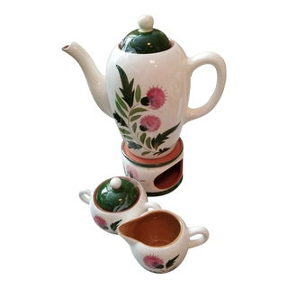 "Stangl ""Thistle"" Coffee Pot with Warmer Sugar and Creamer - Set of 4"