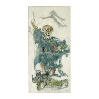 """Mid-Century Modern """"Guardian God"""" Monoprint Signed by Sophie Fordon For Sale"""