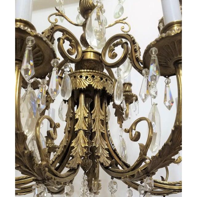 1920s 1920s Louis XVI Bronze & Crystal 12 Lights Chandelier For Sale - Image 5 of 10