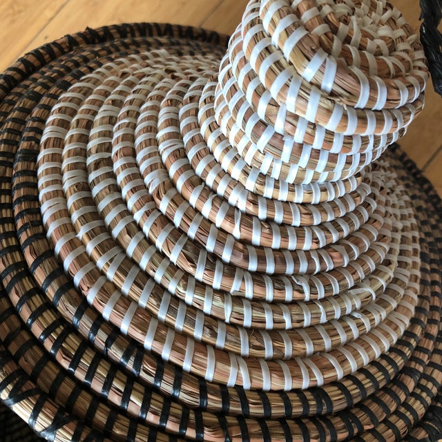 Wicker Geometric Hand Woven Monochromatic Baskets- Set of 3 For Sale - Image 7 of 8