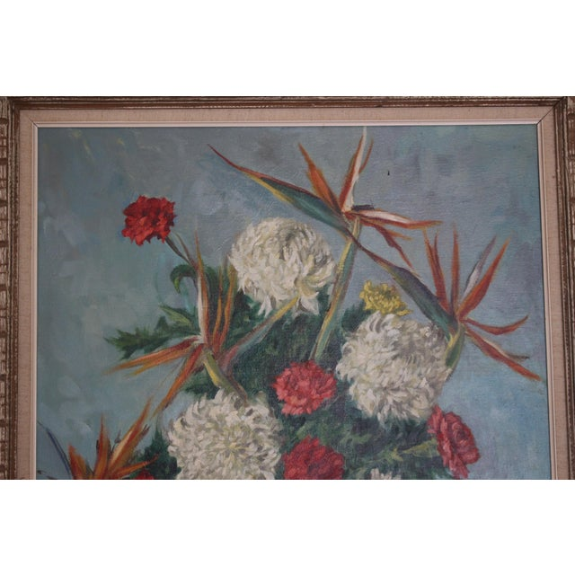 Red Still Life Flowers With Burgundy Cloth Painting by Ben Wilks For Sale - Image 8 of 13