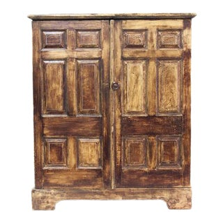 Mid 19th Cenutry Pine Painted Raised Panel Cupboard For Sale