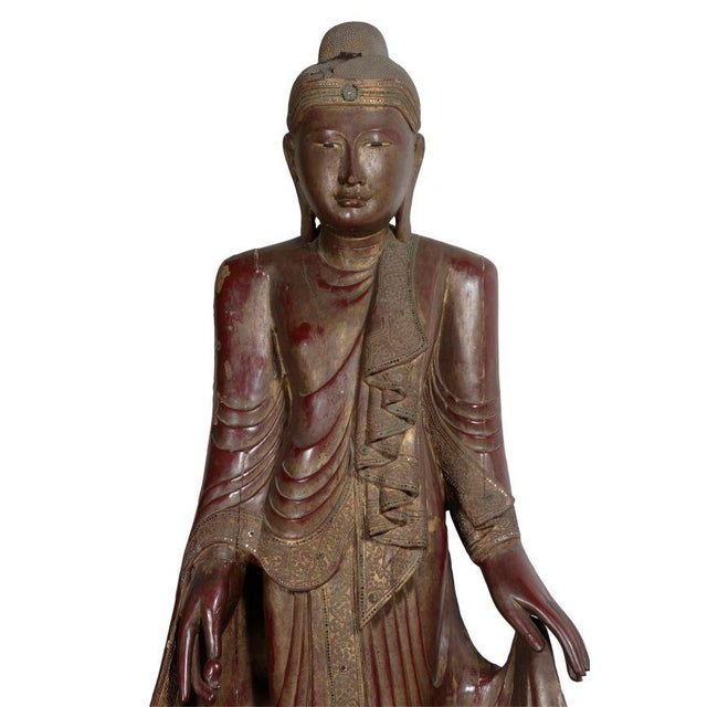 Carved Wood Buddha Statue - Image 4 of 8