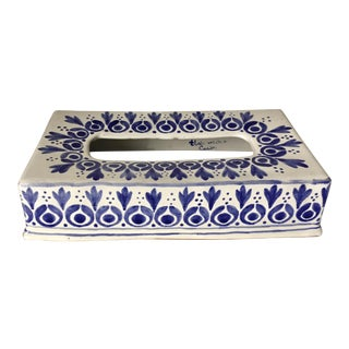 Glazed Terra Cotta Blue &White Tissue Box Cover-Portugal For Sale