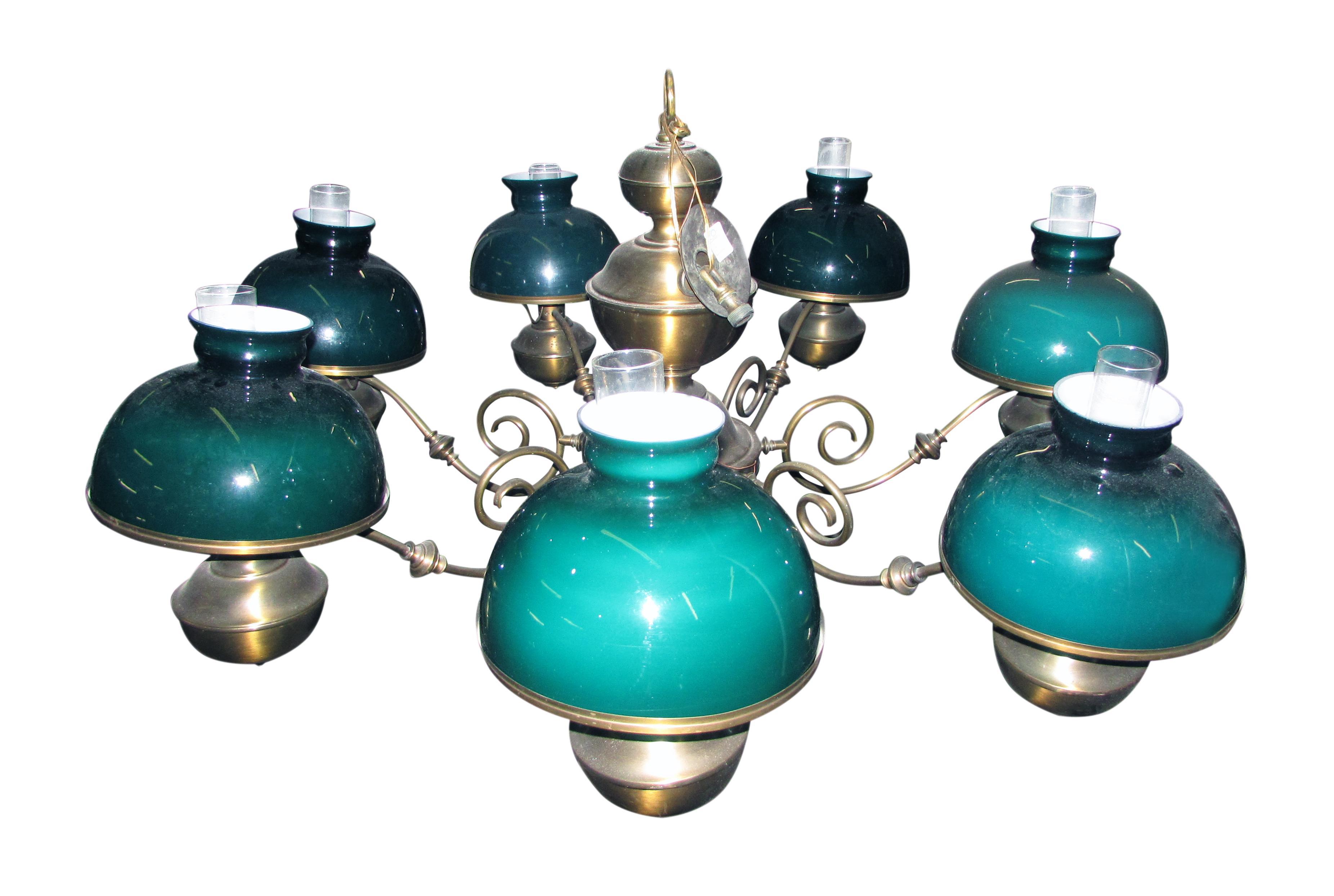 Brass Chandelier With Hunter Green Glass Shades Chairish