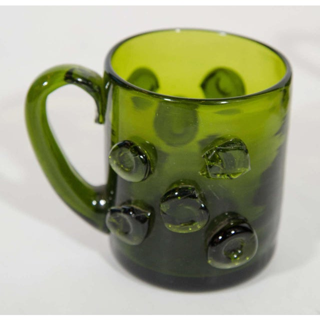 Green Set of Six Mid-Century Modern Demitasse Mugs in Emerald Glass For Sale - Image 8 of 8