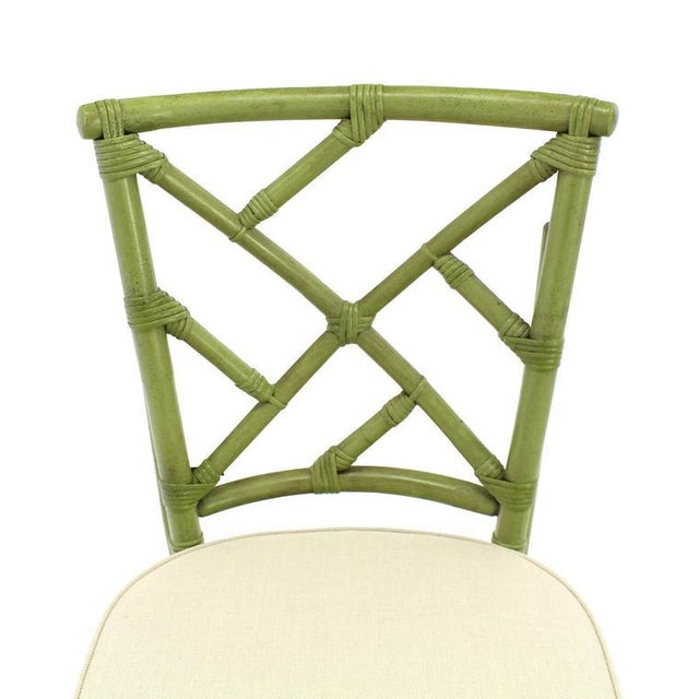 Square Game Table and Four Chairs Green Faux Bamboo Rattan For Sale - Image 9 of 11