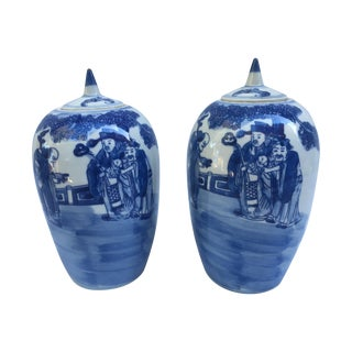 Blue & White Chinese Ginger Jars - Pair