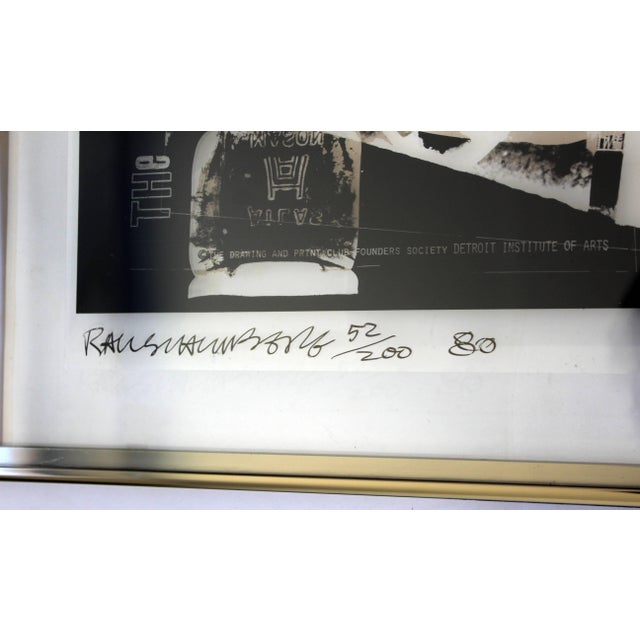 Black Mid-Century Modern Robert Rauschenberg Signed Photolithograph, 1980 52/200 For Sale - Image 8 of 9