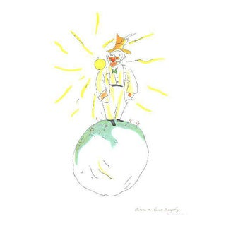 "Lithographic Print by Antoine De Saint Exupery ""The Conceited Man"" From the Little Prince For Sale"