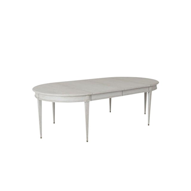 Swedish Gustavian Style Two-Leaf Extension Dining Table With Original Brass Feet For Sale