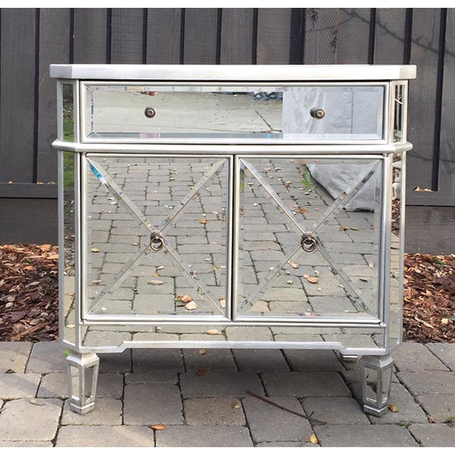 Regency Glam Mirrored Chest Dresser Nightstand For Sale - Image 10 of 10