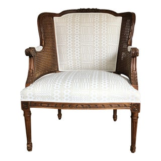 Century Caned French Bergere Chair Quadrille Fabric