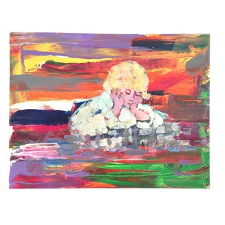 "Abstract Colorful ""Blond Child"" Painting Signed Evelyn Favus Richin For Sale"
