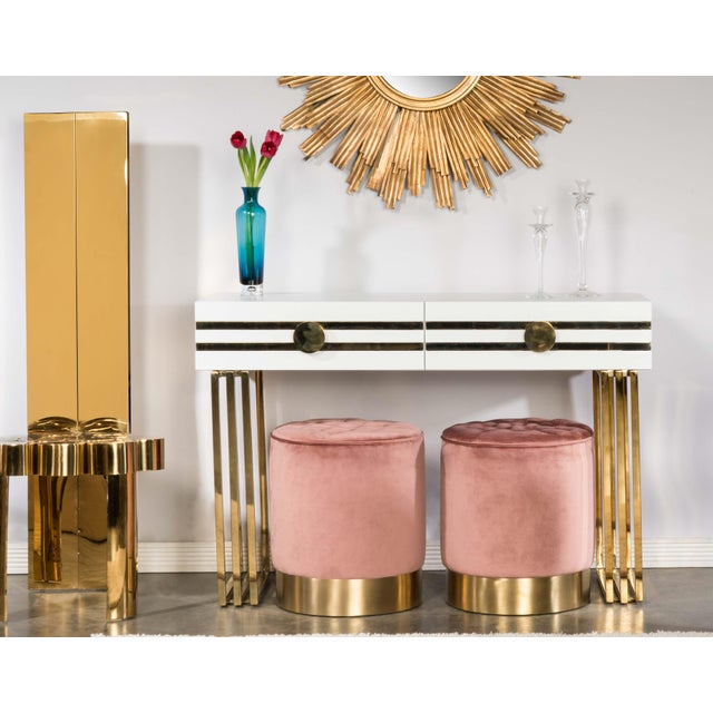 Paulette Tufted Rose and Gold Stools - A Pair For Sale - Image 4 of 5
