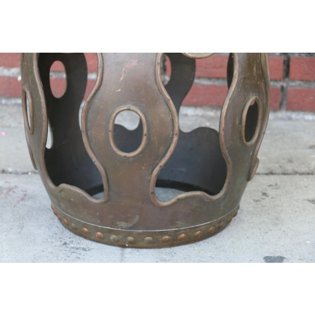 1980s Vintage Chinoiserie Metal Stool For Sale - Image 5 of 9