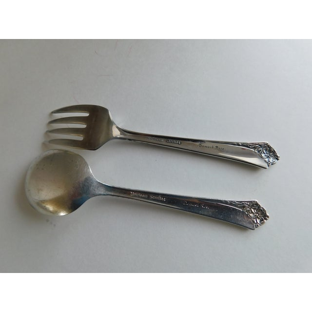 Heirloom Sterling Baby Spoon and Fork Damask Rose Pattern For Sale - Image 11 of 13