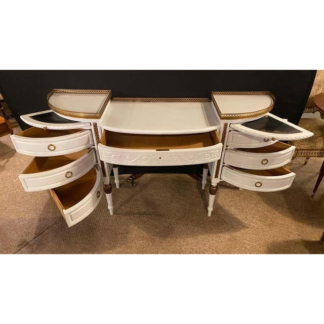 Louis XVI Style Ladies Vanity / Writing Desk in Dove Gray Lacquer For Sale - Image 9 of 13