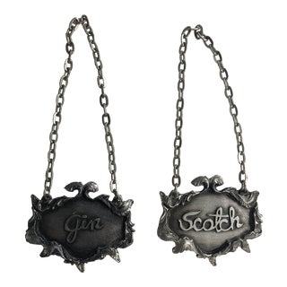 Vintage Metzke Ornate Pewter Gin & Scotch Decanter Labels For Sale