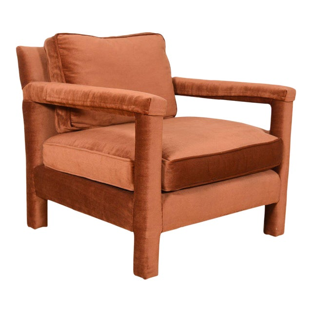 Copper Crushed-Velvet Upholstered Club Chair For Sale