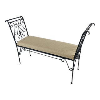 Mid-Century Wrought Iron Bench For Sale