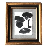 Image of Original Contemporary Robert Cooke Abstract Face Painting Vintage Frame For Sale