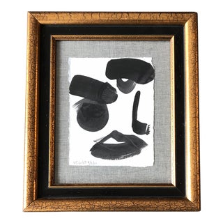 Original Contemporary Robert Cooke Abstract Face Painting Vintage Frame For Sale