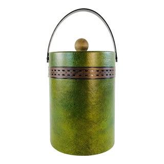 Vintage 1960s Green Vinyl Ice Bucket For Sale