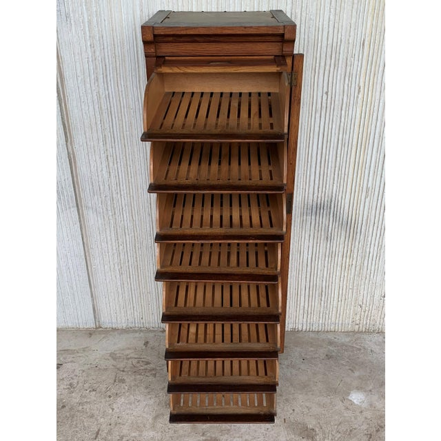 Art Deco Art Deco Filing Cabinet With Eight Sliding Drawers and Wheels For Sale - Image 3 of 9