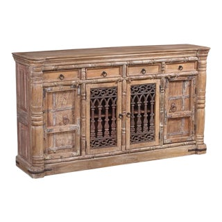 """Indian Solid Teak Wood Large Buffet - 75"""" For Sale"""