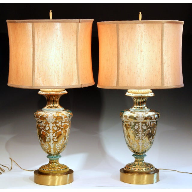 Antique Gualdo Tadino Luster Pottery Italian Majolica Gargoyle Robbia Lamps - a Pair For Sale - Image 11 of 12
