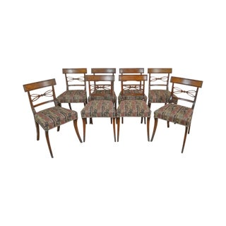 Regency Style Set of 8 Antique 19th Century Mahogany Dining Chairs For Sale